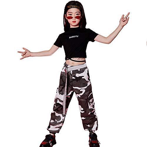 Camouflage Kostüm Mädchen - LOLANTA Kinder Teen Hip Hop Dance Performance Kostüm Kurzarm T-Shirt + Camouflage Hosen Kleidung Set