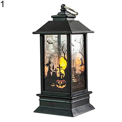 happyhouse009 Halloween-Kürbis-Lampen, Laternen, LED-Flammenlicht, Halloween, Kürbis-Skelett, Hexe, Geister, Handkerze, LED-Licht, Tischdekorationslampe, Plastik, 1#