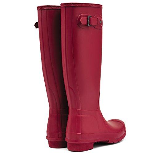 Damen Hunter Original Wide Fit Wasserdicht Schnee Regen Gummistiefels Militär rot