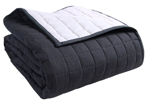 Homescapes - 100% Cotton Reversible Twin Colour Quilted Bedspread Throw - Black & Grey - King Size 230 x 250 - Washable Bedding Sofa Throw