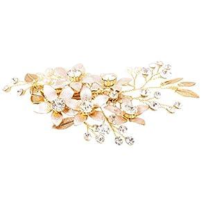 MagiDeal Perlen Hochzeit Brautschmuck Braut Haarschmuck Kristall Haarklammer