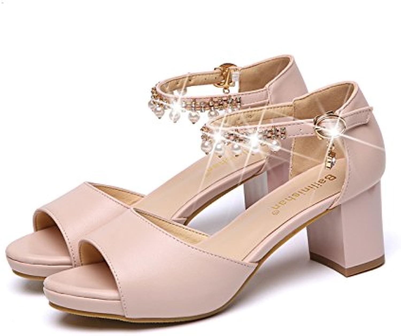 LGK&FA Sandalias Sandalias Con Gruesos Bolsa Impermeable Con Agua Boca De Pescado Zapatos 38 Rosa Post