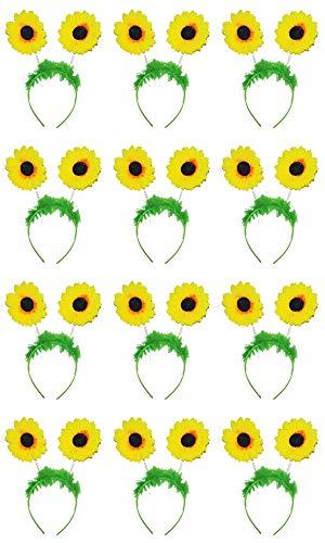 Kostüm Kopfbedeckung Blume - Das Kostümland Sonnenblumen Haarreif zum Gärtnerin oder Blumenwiese Kostüm - 12er-Set
