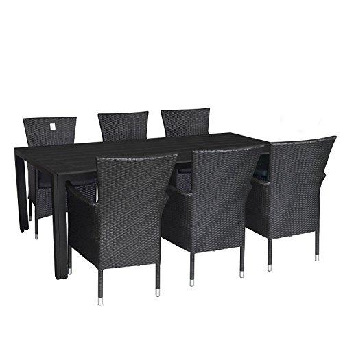 Ensemble de jardin 7 pièces table de jardin en aluminium et polywood plateau de table noir, 205x90x74cm + 6 x Fauteuil en rotin noir empilable avec coussin