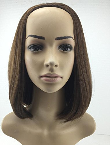 Stilvolle Matte, halb Perücken Perücke, realistische, flauschig, Perücke, stilvolle kurze glatte Haare ohne Pony, (Halbe Blonde Perücke)