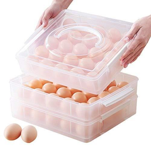 AJ 3 Etagen 75-Ei Kapazität Eierbehälter, Hikeren Eier-Halter-Kasten Covered Egg Spender mit Deckel Eier Kunststoff Box, 6037+3