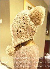 Winter Hat Knit Russian Cute Trapper Warm Cool Girl Women White Pom