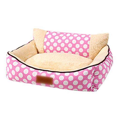 LvRao Hundebett, Hundekorb mit Matratze Abnehmbar Weich Rechteckig Katzen Hund Haustierbett, Hundesofa (Pink, L (70*60*25cm))
