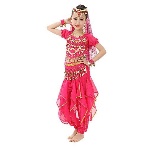 Amphia - Mädchenbauch, kurzärmelige, rotierende Hosenanzug (ohne Schleier und Zubehör) - Handgemachte Kinder Mädchen Bauchtanz Kostüme Kinder Bauchtanz Ägypten Tanz Tuch (Tänzerin Kostüm Mädchen)