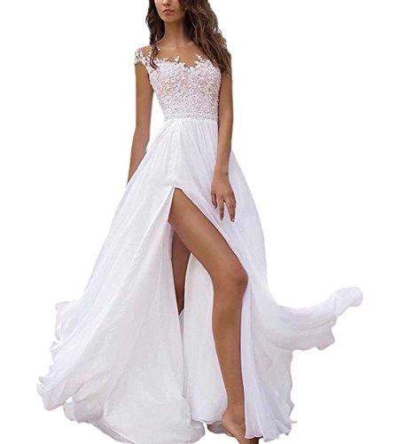 Beyonddress Damen Chiffon Hochzeitskleider Elegante Spitze Elegant Brautkleider Lang Brautmode...