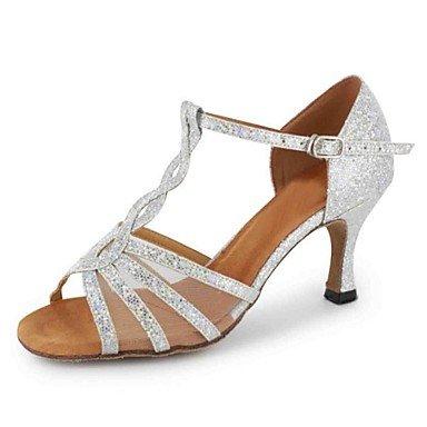Silence @ Chaussures de danse pour femme en similicuir en similicuir latine Sandales Talon Practise débutant des performances d'intérieur professionnel doré