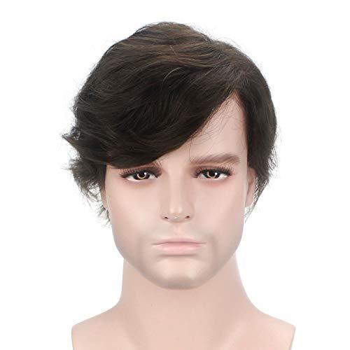 enhaar Indisches Haar Perücken Männer Toupet Herren Darkest Brown 2# ()