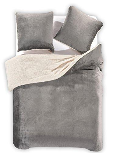 DecoKing Winter Bettwäsche mit 1 Kissenbezug 80×80 2 Kissenbezügen 80×80 2tlg 3tlg Lammfelloptik Sherpa Bettwäscheset flauschig Bettbezüge Microfaser mollig weich kuschelig Teddy