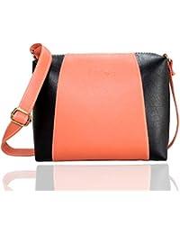 Fargo Motley PU Leather Women's & Girl's Cross Body Side Sling Bag (Peach,Black_FGO-086)