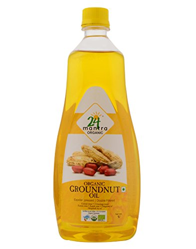 24 Mantra Organic Cold/Expeller Pressed Groundnut Oil, 1 L