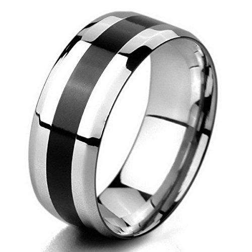 Aooaz Wolfram Ringe für Herren mit Gratis Gravur Breit 8mm Ringe Schwarz Gestreift Silber Ringe Größe 60 (Kostüme Medusa Beste)