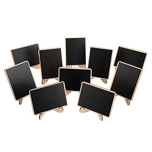 l Kreidetafel Rechteck mit Ständer Holz Nachricht Board, holz, Schwarz, 10 * 7.5 * 0.3 cm ()