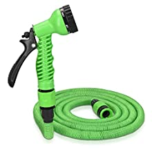 Navaris 30m Expandable Garden Hose - Flexible Water Pipe with Double Latex Core, 7 Pattern Spray Gun, Braided Outer Layer - Extra Large No Kink Hose