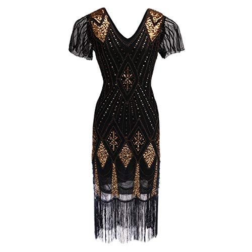 OHQ Damen 1920er Charleston Kleid Pailetten Cocktail Flapper Kleid Mit Ärmel Great Gatsby Motto Party Damen Kostüm Kleid (M, Schwarz)