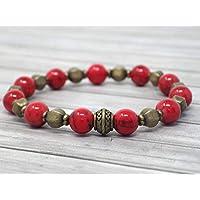 fe21d5c34eff Pulsera zen para mujer en perlas tibetanas en bronce antiguo y turquesa roja  reconstituida