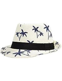 Westeng Sombrero de Paja anti-Sun Sombrero Playa Paja de Viajes Vacaciones Verano Gorro cocoteros Patrón de Estilo Británico Hombres del Sombrero