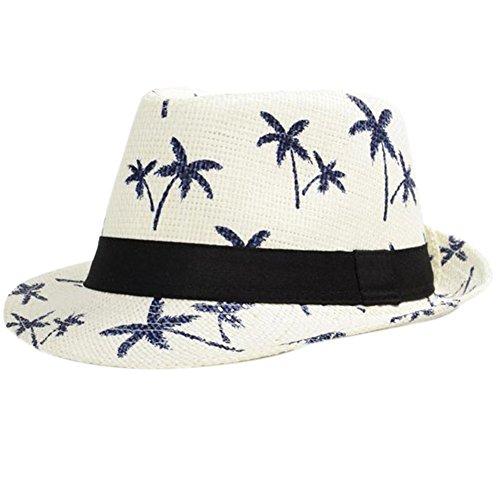Strand Damen-hüte (Leisial Unisex Sonnehüte Jazzhut Flexible Sommer Strohhut Strand Hüte mit Kokosnussbaum Muster,Weiß)