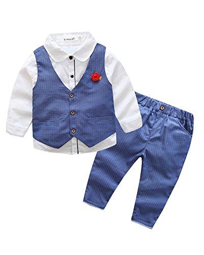 PengGeng Jungen 3 Stück Formal Anzug Kleinkind Langarm Hemd + Weste + Hose Outfit Blau 130 (3 Blau Anzug Stück)