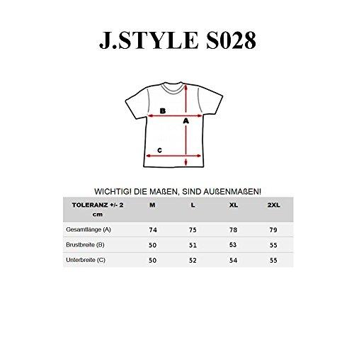 BOLF Herren T-Shirt Tee Print Slim Fit Kurzarm Party Classic MIX 3C3 Motiv Weiß_S028