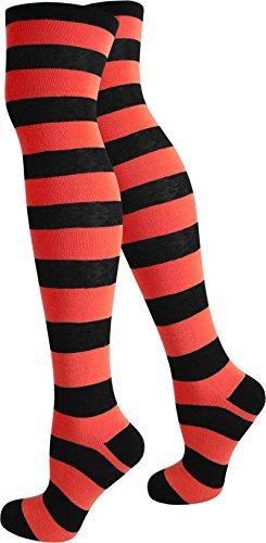 normani 3 Paar Top modische Damen Overknees in verschiedenen Designs/Baumwolle mit Elasthan Farbe Schwarz/Rot Größe OneSize -