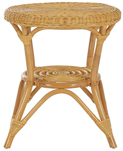 korb.outlet Runder Rattan-Tisch Ø 50 cm/Beistelltisch Rund/Couchtisch Rattantisch Kaffeetisch (Honig)