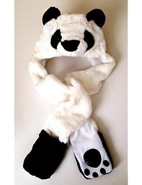Gono oso panda de peluche largo animales piel sintética cabeza gorro Hood/bufanda/Snood/guantes todo en uno Niñas...