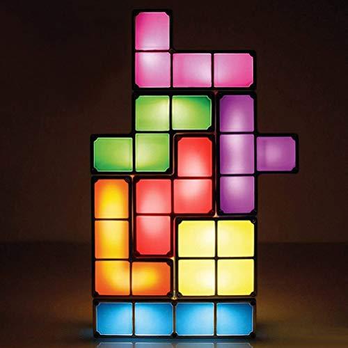 HYYK Lampe Tetris, Empilable LED Lampe de Table Mood Light DIY Rétro 3D Jouet Enfants Tetris Lampe Fixture Building Blocks