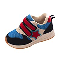 BURFLY Kids Toddlers Baby Boys Girls Trainers Sneakers, Star Patchwork Running Sport Flats Fastening Mesh Shoes, for Age 1-6 Years Children, Candy Color, Size 4.5-9 UK Child Blue