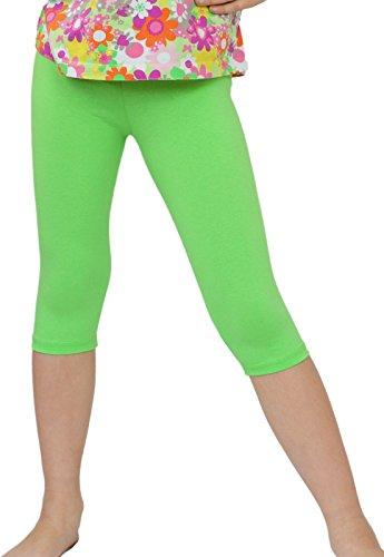 Kinder / Mädchen 3/4 kurz Leggings aus Baumwolle (134, Grün) -