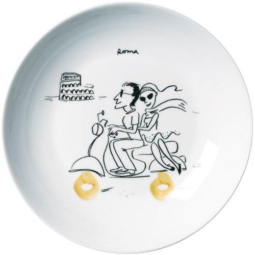 Amatable 28-8028 Assiettes creuses rondes à pâtes Pasta Coffret de 6 assorties Porcelaine Blanc D21cm