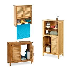 Relaxdays 3 TLG Badeinrichtungs Set LAMELL, Waschbeckenunterschrank, Badschrank mit Türen, Hängeschrank mit Handtuchhalter, Bambus