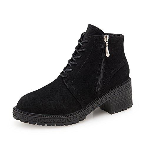 Ji Yinglun vent dans les chaussures d'automne et d'hiver/ Martin bottes talons chunky/ nubuck cuir bottes pour dames A