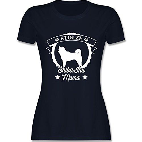Shirtracer Hunde - Stolze Shiba Inu Mama - Damen T-Shirt Rundhals Navy Blau