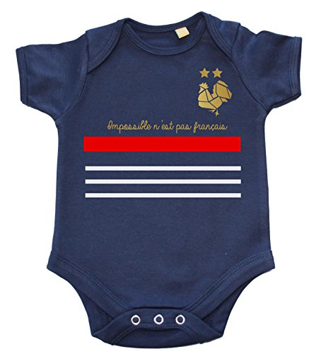 DSTNY Body bébé Coupe du Monde 2018 Impossible n'est Pas français- Bleu Marine (Taille 12-18mois)