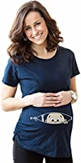 Bold N Elegant Women's Blue Half Sleeve Cute Sneak Peek Child Printed Pregnancy Maternity T-Shirt Top Tee