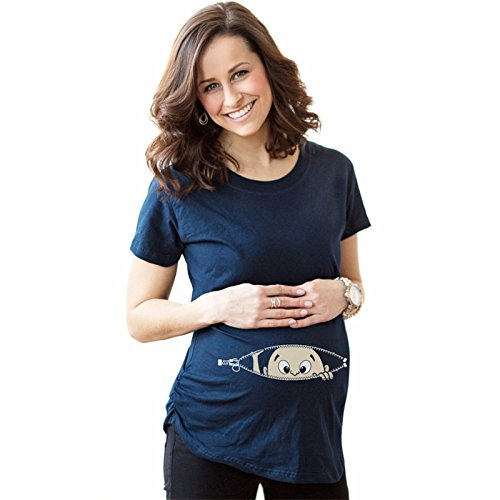 Bold N Elegant Women's Half Sleeve Cute Sneak Peek Child Printed Pregnancy Maternity T-Shirt Top Tee (Blue, L)