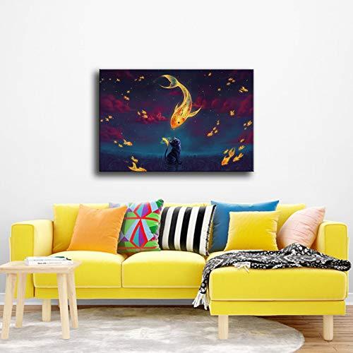 adgkitb canvas 60x90cm KEIN Rahmen Cat's Dream Home Decoration Ölgemälde a2 -