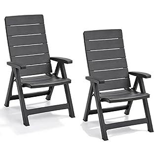 Keter Allibert Brasilia Reclining Outdoor Garden Furniture Chairs - Graphite
