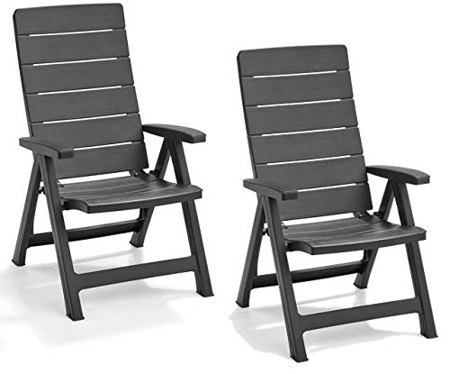 Keter Brasilia Allibert Lot de 2 fauteuils de Jardin inclinables – Graphite
