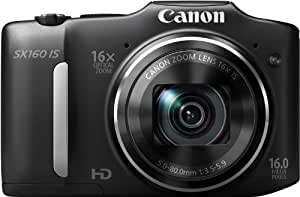 Canon PowerShot SX160 IS 16MP Point and Shoot Camera (Black) with 16x Optical Zoom, Memory Card and Camera Case