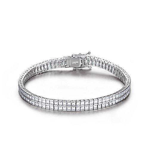 linea d'argento intarsio Bracciale in platino placcatura/Ladies moda doppio spessore Bracciale/