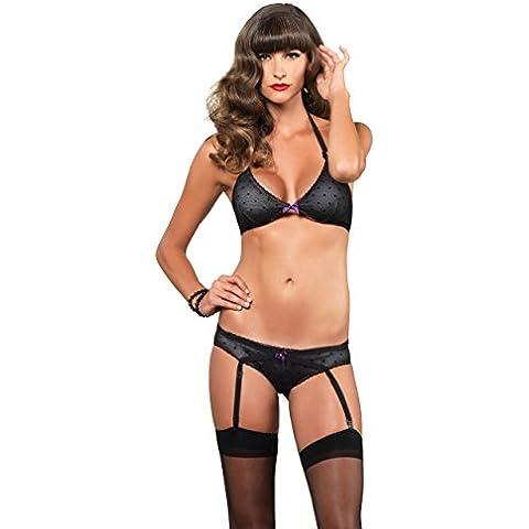 Leg Avenue 81476-2 pieza de conjunto ropa interior, sujetador con relleno cabestro y un juego de liga, bragas negro (tamaño: Mediano)
