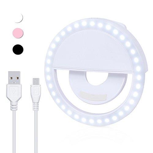 Produktbild Prochive Selfie Kamera LED-Licht Taschenlampe Lampe Ring Licht Zusatzbeleuchtung Nacht Selfie Verbesserung für Smartphones,  wiederaufladbare 3-stufige Helligkeit,  runde Form (Weiß)