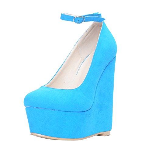 EKS Damen Platform Keilabsatz Ankle Strap High Heels Pumps Blau