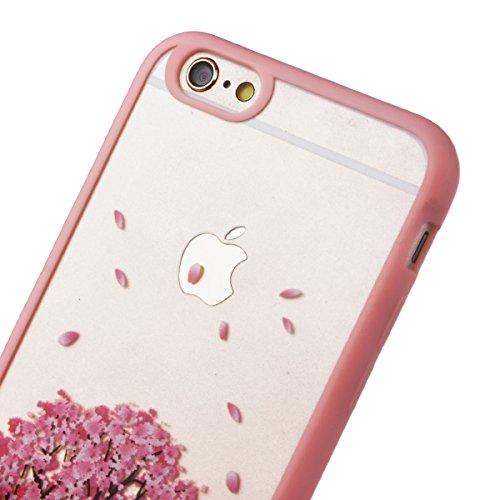 Yokata iPhone 6 / iPhone 6s Hülle Durchsichtig Silikon mit Weich Bumper Klar Schutz Handyhülle Case Tasche - Amüsant Wunderlich Design Giraffe Motiv Rosa